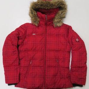 Columbia Down Jacket W/ Fur Hood Red Plaid